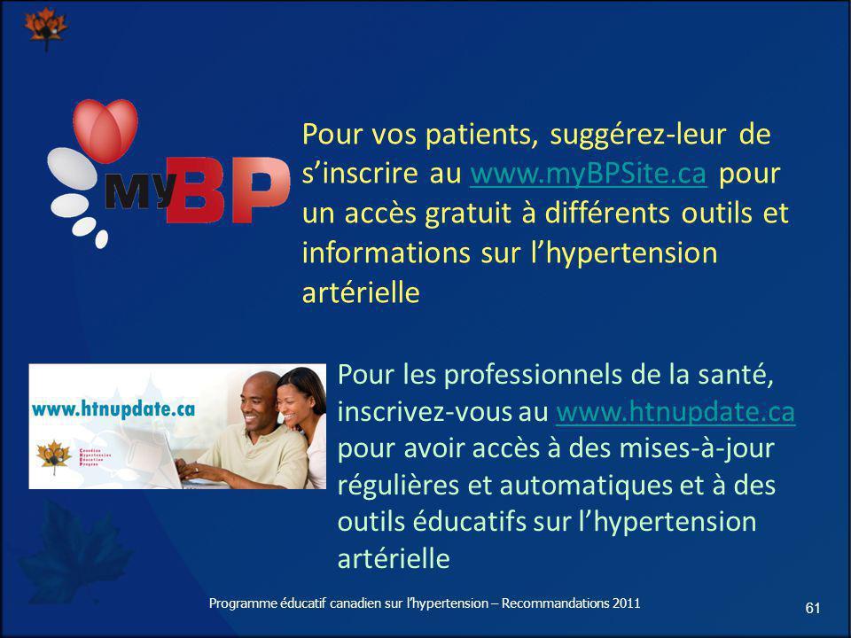 61 Pour vos patients, suggérez-leur de sinscrire au www.myBPSite.ca pour un accès gratuit à différents outils et informations sur lhypertension artéri