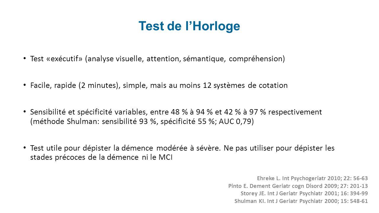 Test de lHorloge Test «exécutif» (analyse visuelle, attention, sémantique, compréhension) Facile, rapide (2 minutes), simple, mais au moins 12 système