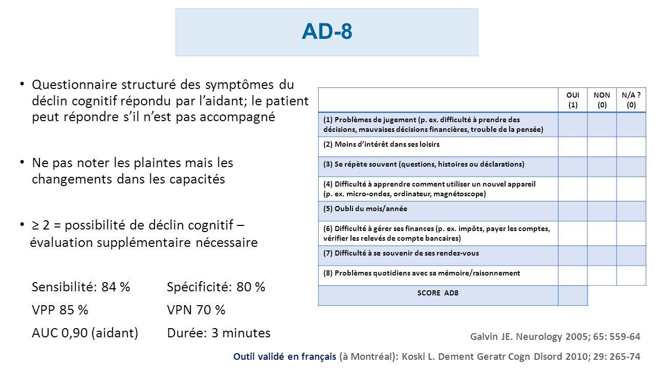AD-8 Questionnaire structuré des symptômes du déclin cognitif répondu par laidant; le patient peut répondre sil nest pas accompagné Ne pas noter les p