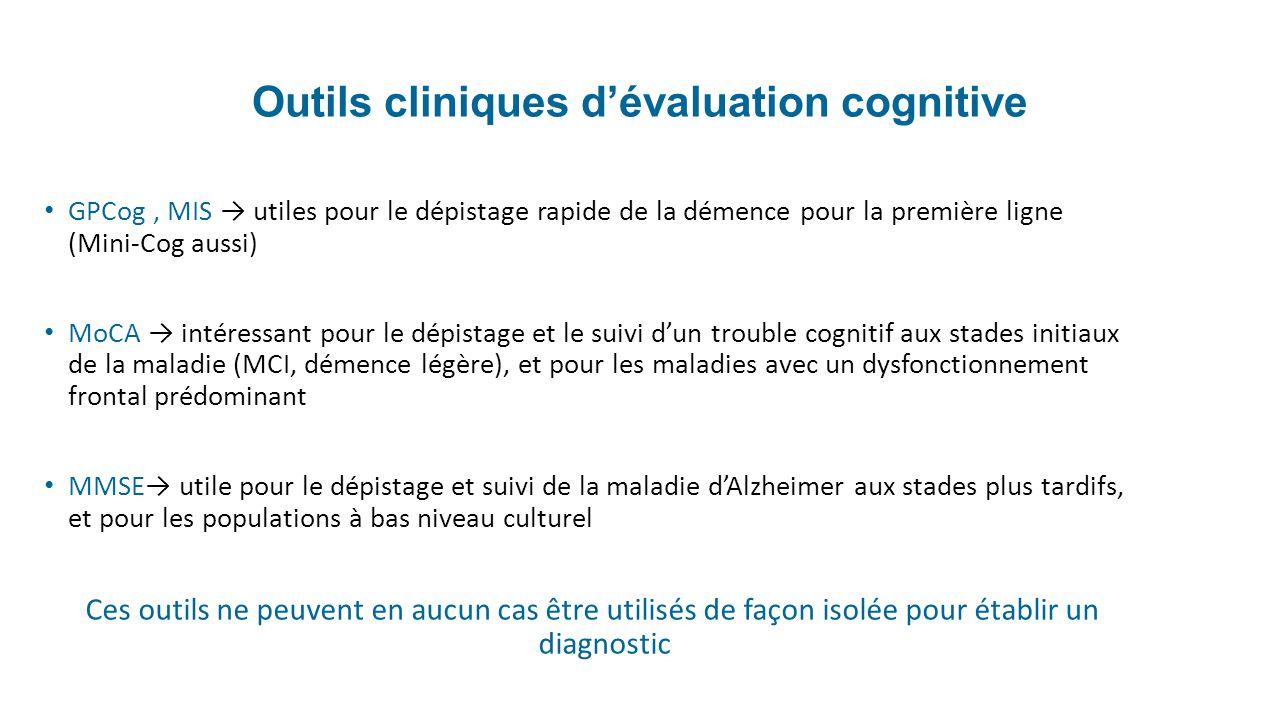 Outils cliniques dévaluation cognitive GPCog, MIS utiles pour le dépistage rapide de la démence pour la première ligne (Mini-Cog aussi) MoCA intéressa