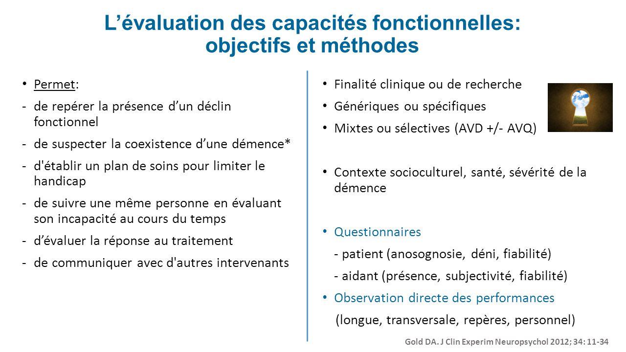 Lévaluation des capacités fonctionnelles: objectifs et méthodes Permet: -de repérer la présence dun déclin fonctionnel -de suspecter la coexistence du