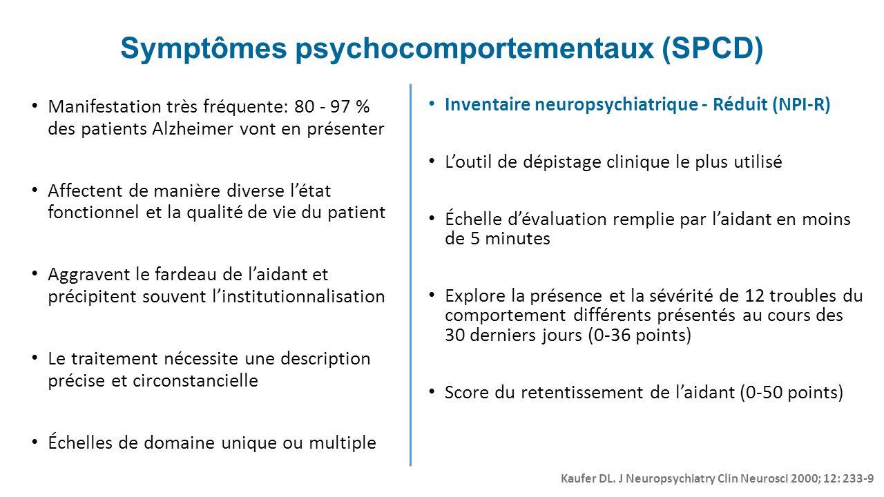 Symptômes psychocomportementaux (SPCD) Manifestation très fréquente: 80 - 97 % des patients Alzheimer vont en présenter Affectent de manière diverse l