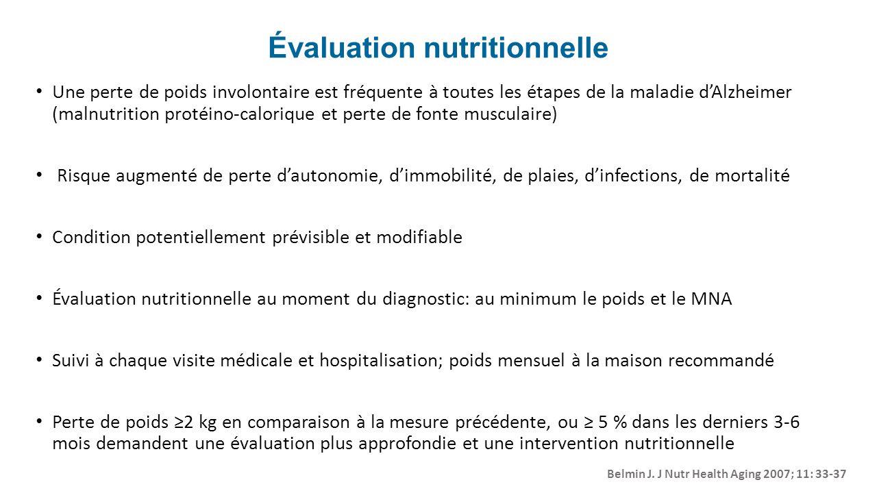 Évaluation nutritionnelle Une perte de poids involontaire est fréquente à toutes les étapes de la maladie dAlzheimer (malnutrition protéino-calorique