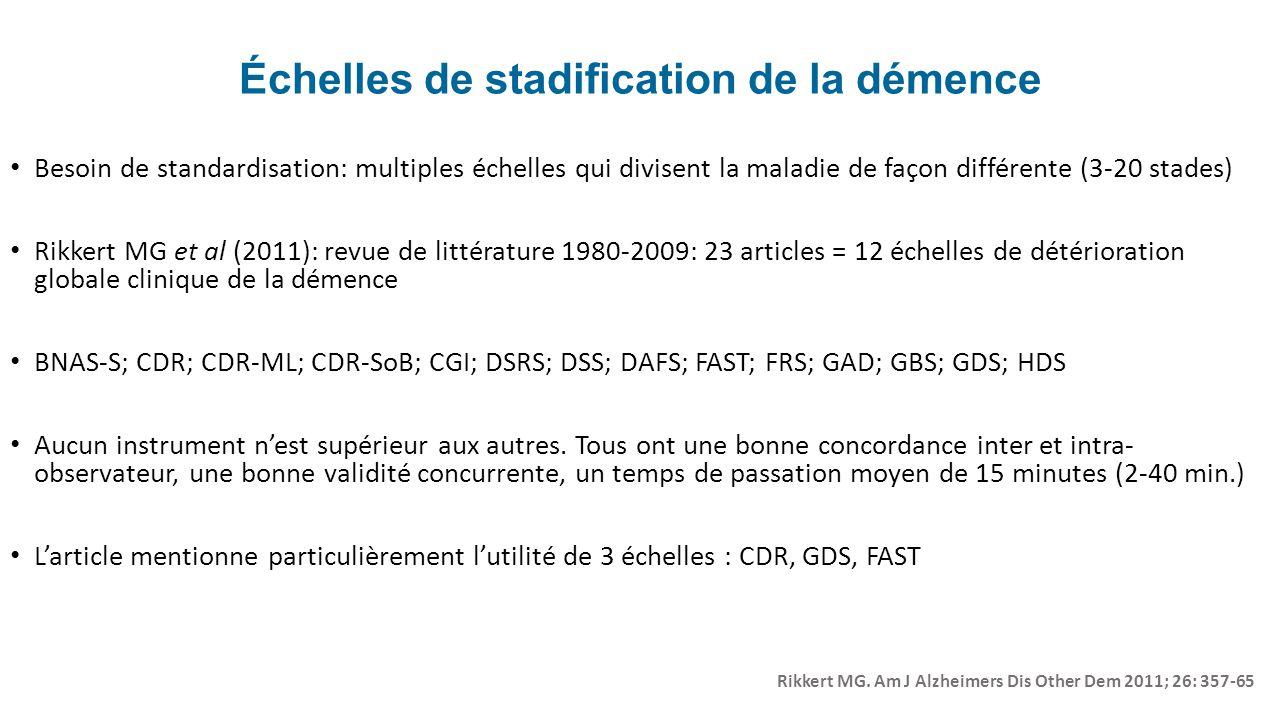 Échelles de stadification de la démence Besoin de standardisation: multiples échelles qui divisent la maladie de façon différente (3-20 stades) Rikker