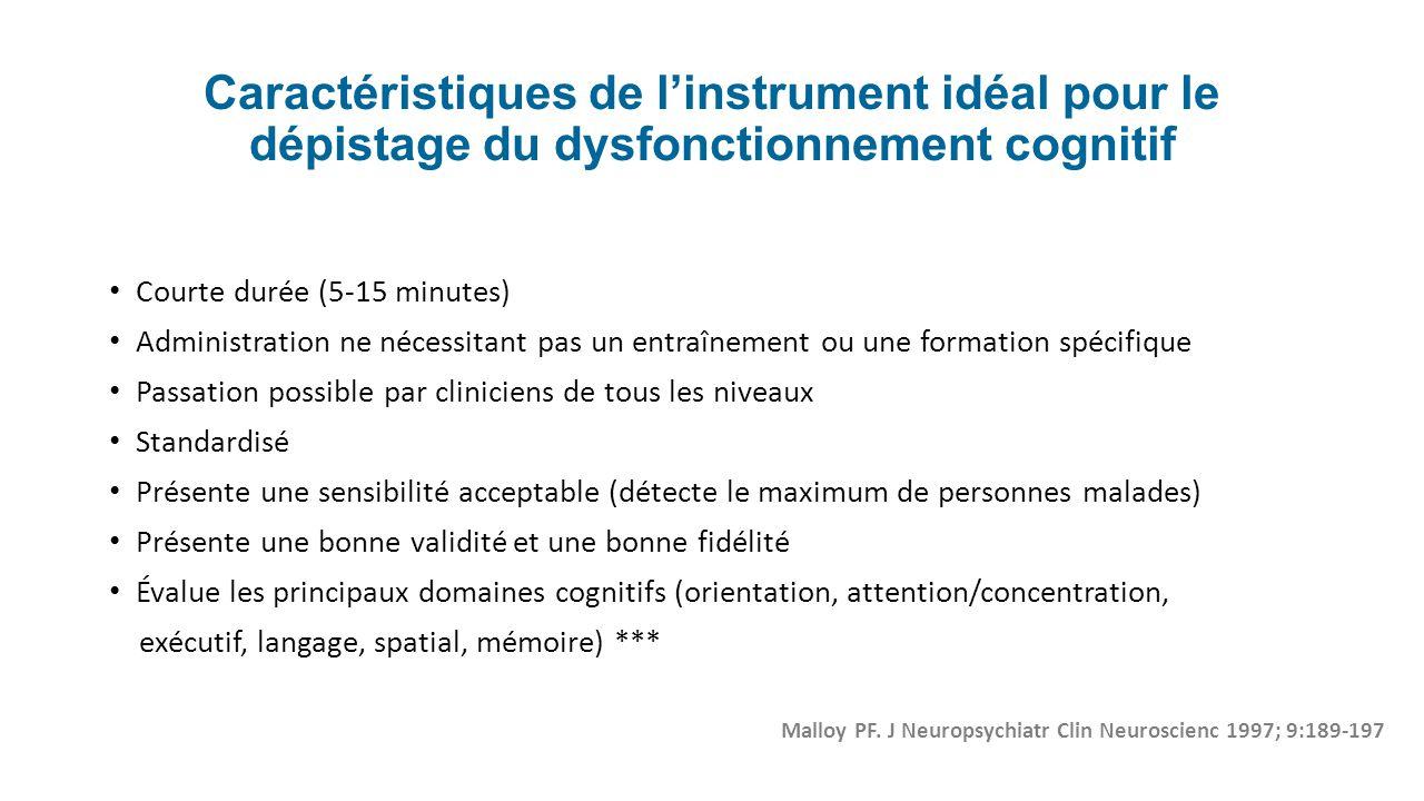 Caractéristiques de linstrument idéal pour le dépistage du dysfonctionnement cognitif Courte durée (5-15 minutes) Administration ne nécessitant pas un