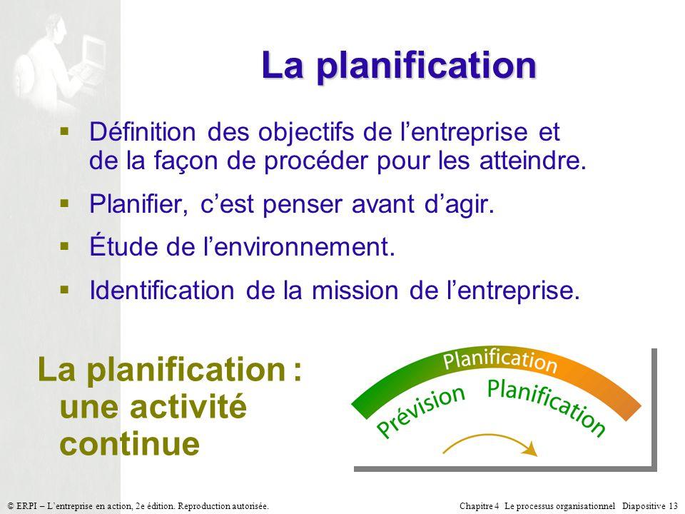 Chapitre 4 Le processus organisationnel Diapositive 13© ERPI – Lentreprise en action, 2e édition. Reproduction autorisée. La planification Définition