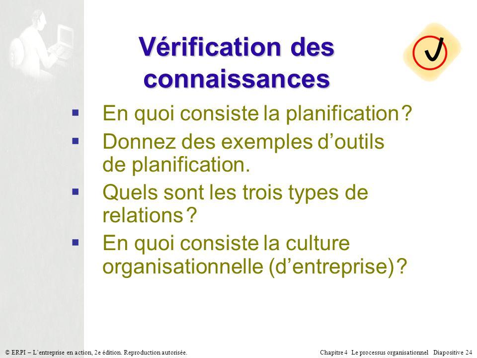 Chapitre 4 Le processus organisationnel Diapositive 24© ERPI – Lentreprise en action, 2e édition. Reproduction autorisée. Vérification des connaissanc