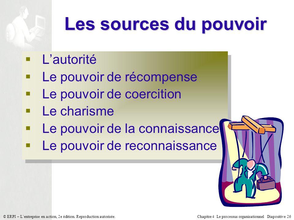 Chapitre 4 Le processus organisationnel Diapositive 26© ERPI – Lentreprise en action, 2e édition. Reproduction autorisée. Les sources du pouvoir Lauto