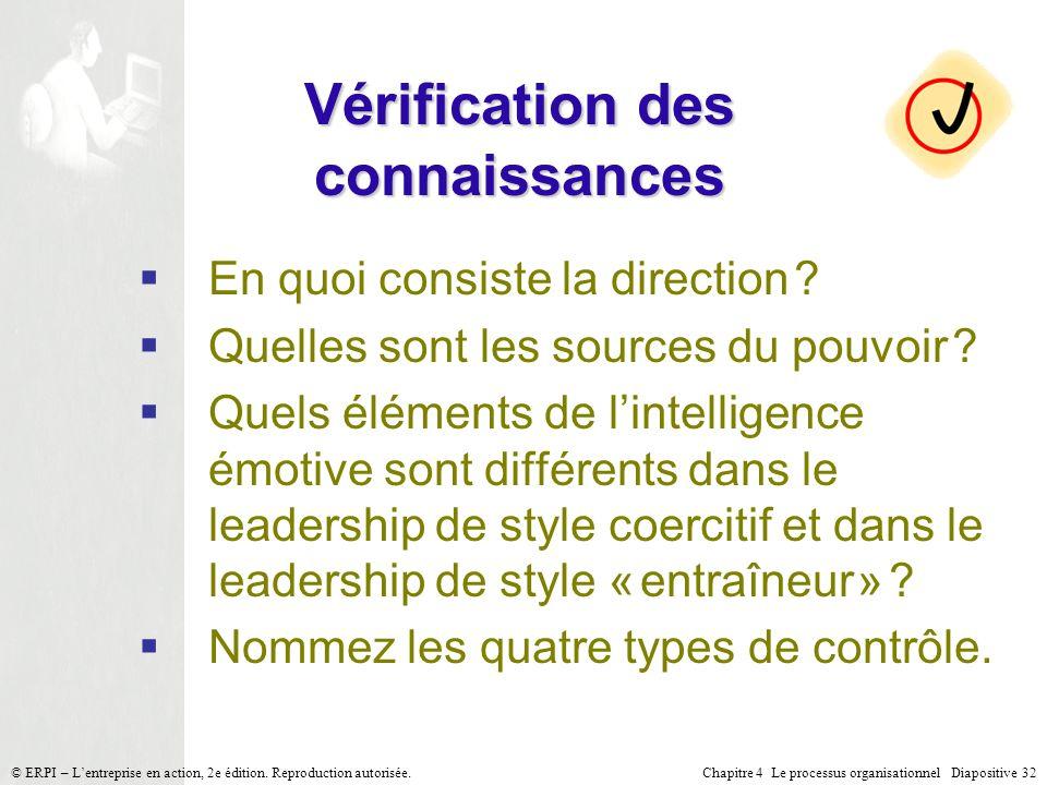 Chapitre 4 Le processus organisationnel Diapositive 32© ERPI – Lentreprise en action, 2e édition. Reproduction autorisée. Vérification des connaissanc