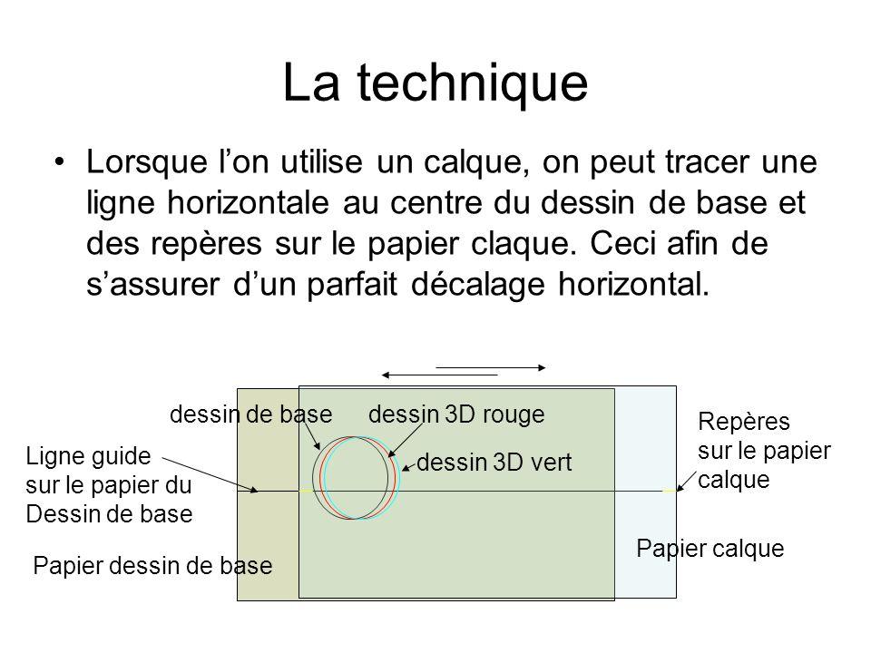 Lorsque lon utilise un calque, on peut tracer une ligne horizontale au centre du dessin de base et des repères sur le papier claque. Ceci afin de sass