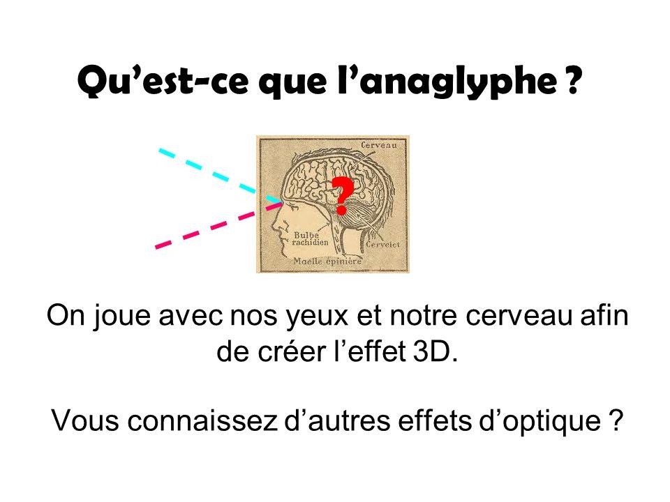 Quest-ce que lanaglyphe ? Vous connaissez dautres effets doptique ? On joue avec nos yeux et notre cerveau afin de créer leffet 3D. ?