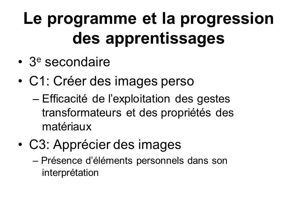 Le programme et la progression des apprentissages 3 e secondaire C1: Créer des images perso –Efficacité de lexploitation des gestes transformateurs et