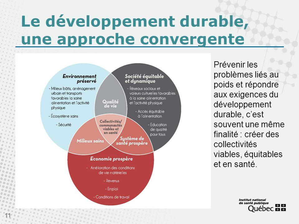 Le développement durable, une approche convergente 11 Prévenir les problèmes liés au poids et répondre aux exigences du développement durable, cest souvent une même finalité : créer des collectivités viables, équitables et en santé.