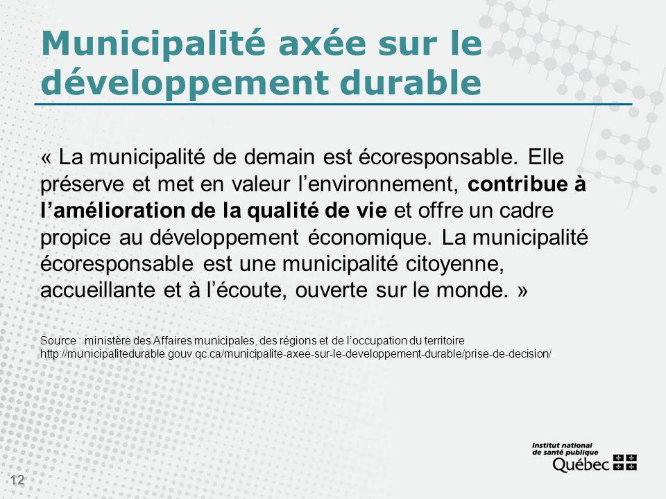 Municipalité axée sur le développement durable « La municipalité de demain est écoresponsable.