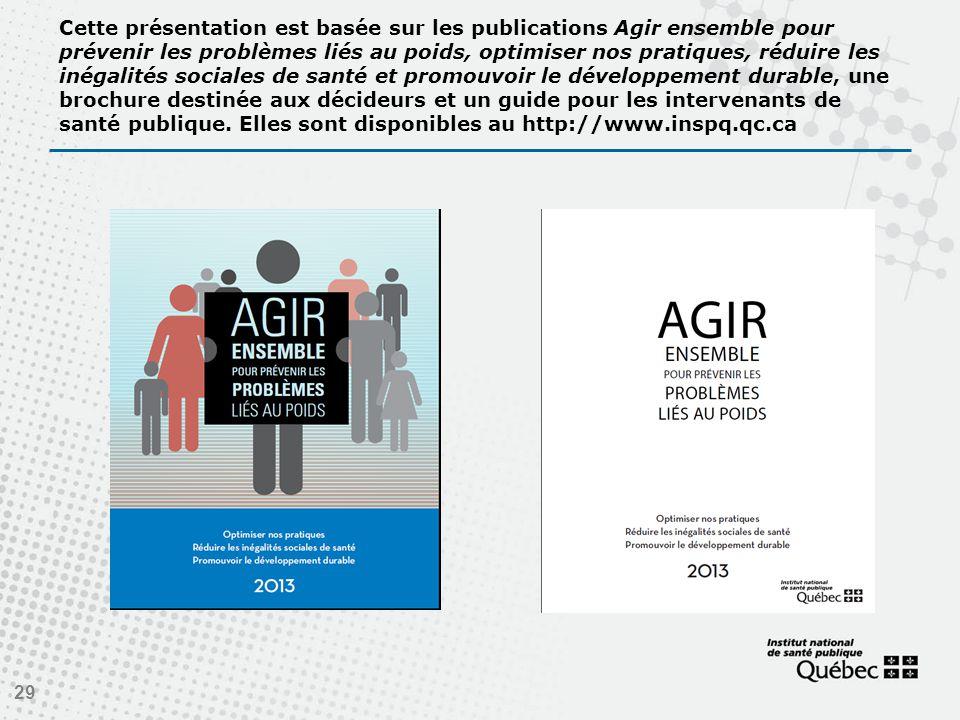 Cette présentation est basée sur les publications Agir ensemble pour prévenir les problèmes liés au poids, optimiser nos pratiques, réduire les inégalités sociales de santé et promouvoir le développement durable, une brochure destinée aux décideurs et un guide pour les intervenants de santé publique.