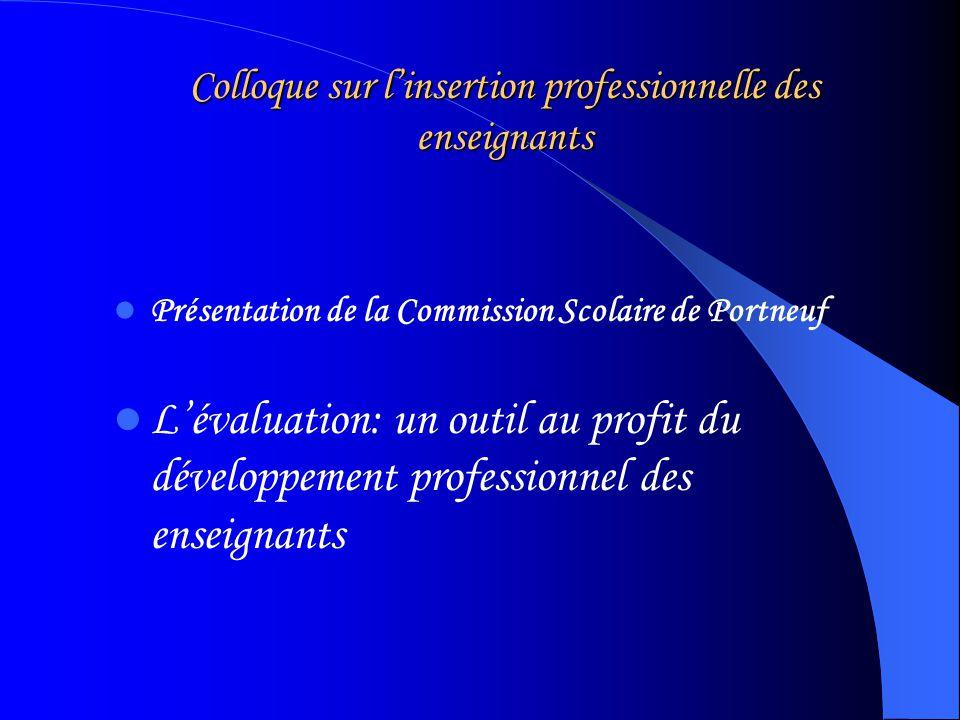 Colloque sur linsertion professionnelle des enseignants Présentation de la Commission Scolaire de Portneuf Lévaluation: un outil au profit du développement professionnel des enseignants