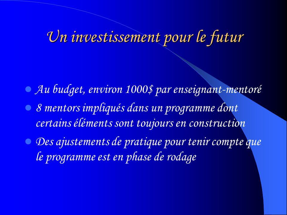 Un investissement pour le futur Au budget, environ 1000$ par enseignant-mentoré 8 mentors impliqués dans un programme dont certains éléments sont toujours en construction Des ajustements de pratique pour tenir compte que le programme est en phase de rodage