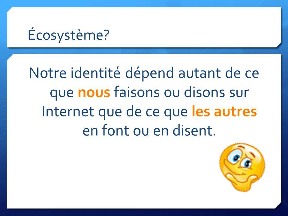 Écosystème? Notre identité dépend autant de ce que nous faisons ou disons sur Internet que de ce que les autres en font ou en disent.