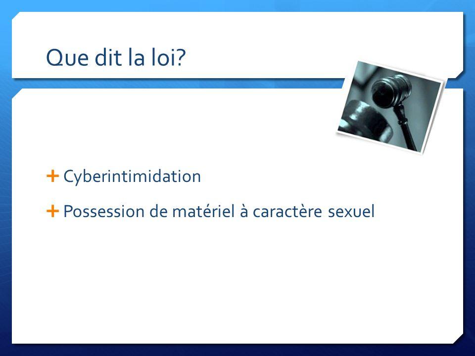 Que dit la loi? Cyberintimidation Possession de matériel à caractère sexuel