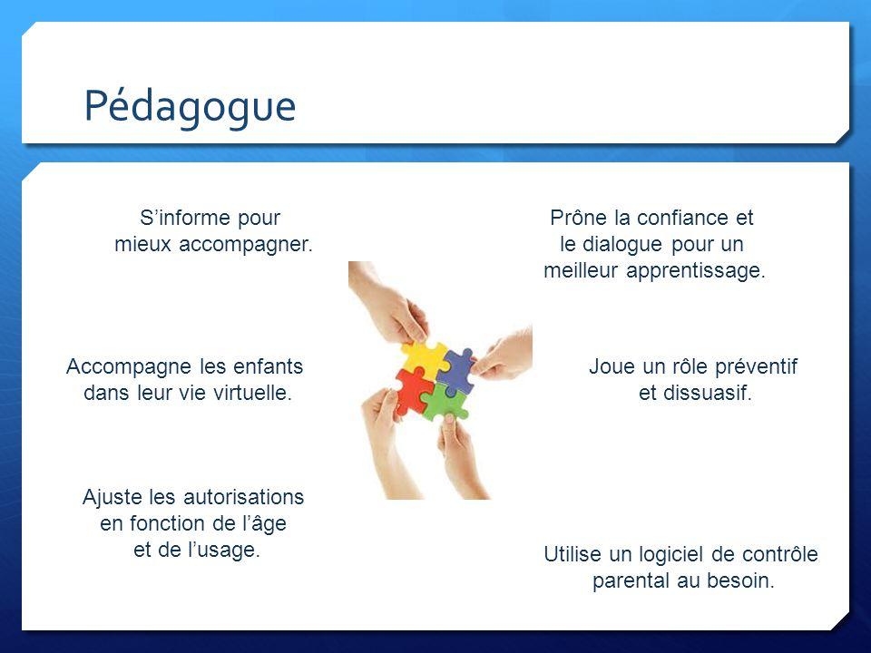 Pédagogue Sinforme pour mieux accompagner. Prône la confiance et le dialogue pour un meilleur apprentissage. Accompagne les enfants dans leur vie virt