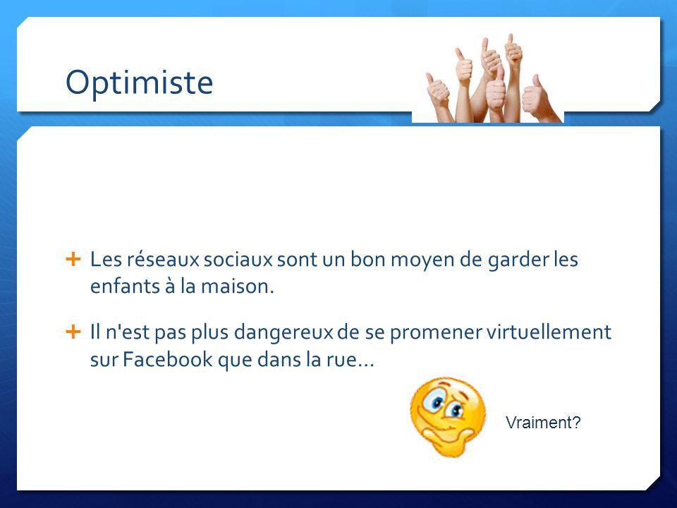 Optimiste Les réseaux sociaux sont un bon moyen de garder les enfants à la maison. Il n'est pas plus dangereux de se promener virtuellement sur Facebo