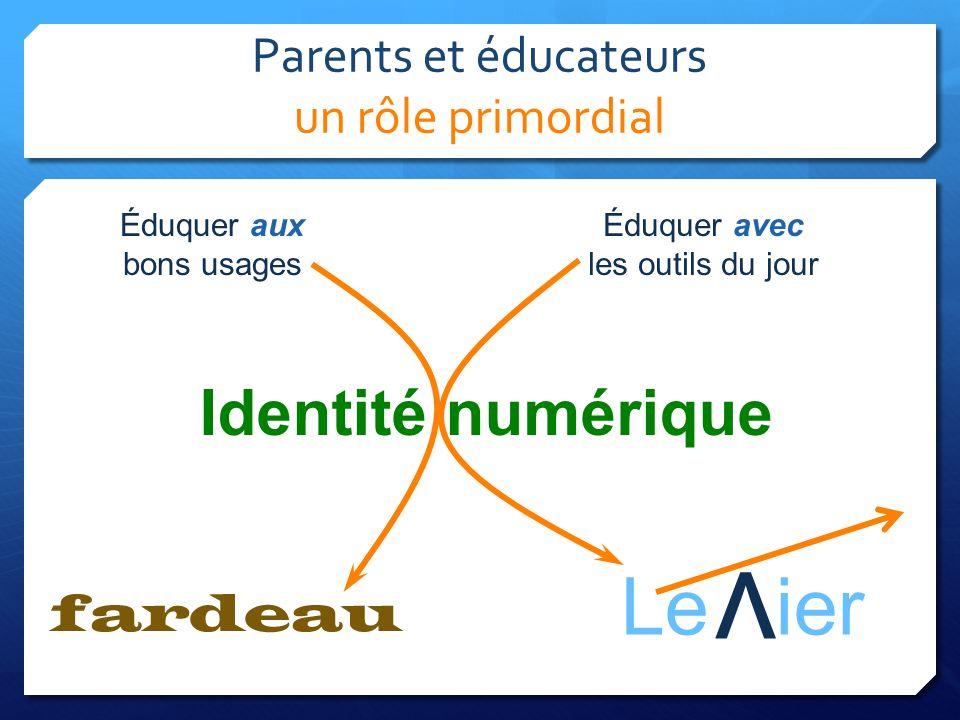 Parents et éducateurs un rôle primordial Le ier Identité numérique fardeau v Éduquer aux bons usages Éduquer avec les outils du jour