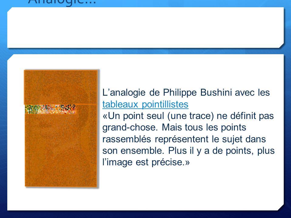 Analogie… Lanalogie de Philippe Bushini avec les tableaux pointillistes tableaux pointillistes «Un point seul (une trace) ne définit pas grand-chose.