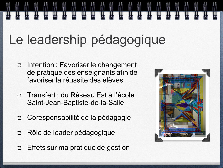 Le leadership pédagogique Intention : Favoriser le changement de pratique des enseignants afin de favoriser la réussite des élèves Transfert : du Réseau Est à lécole Saint-Jean-Baptiste-de-la-Salle Coresponsabilité de la pédagogie Rôle de leader pédagogique Effets sur ma pratique de gestion
