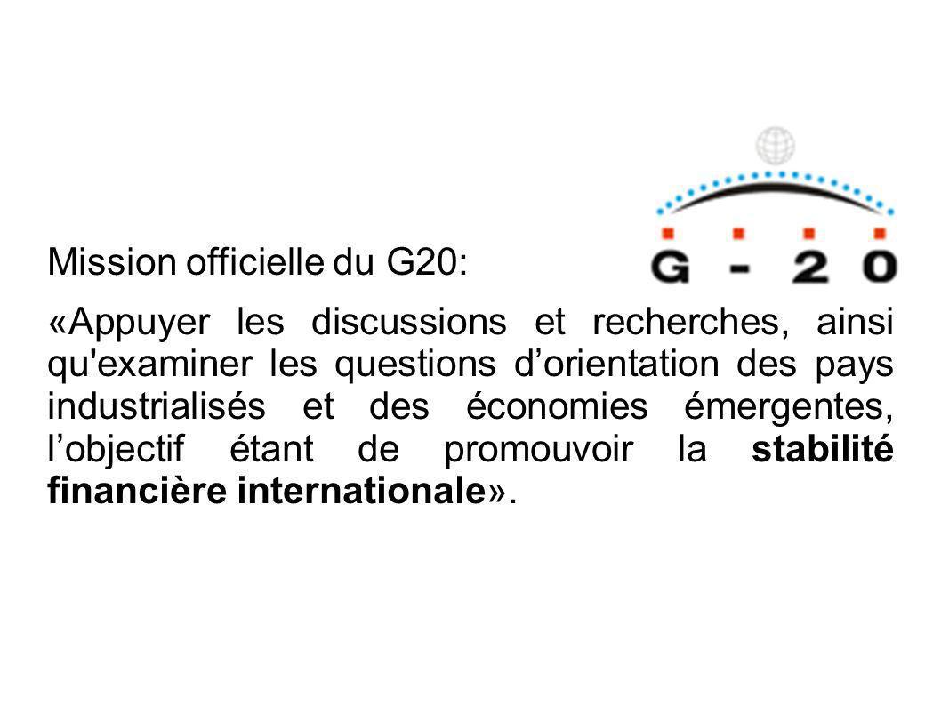 Mission officielle du G20: «Appuyer les discussions et recherches, ainsi qu examiner les questions dorientation des pays industrialisés et des économies émergentes, lobjectif étant de promouvoir la stabilité financière internationale».