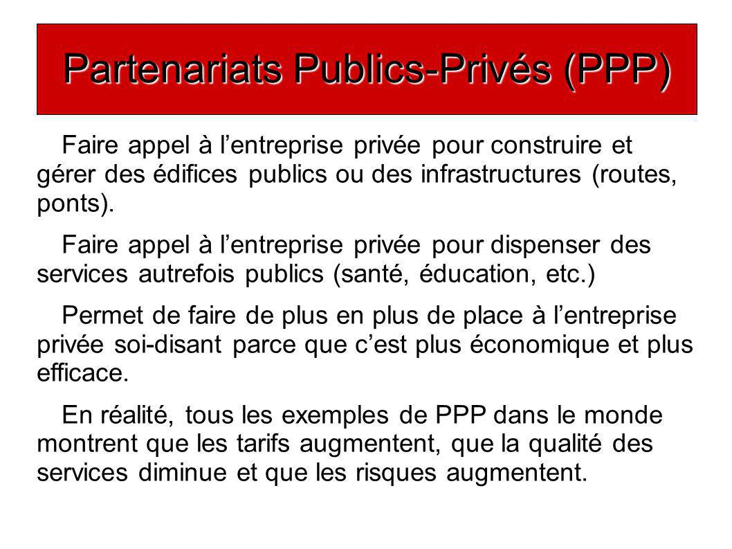Partenariats Publics-Privés (PPP) Faire appel à lentreprise privée pour construire et gérer des édifices publics ou des infrastructures (routes, ponts).