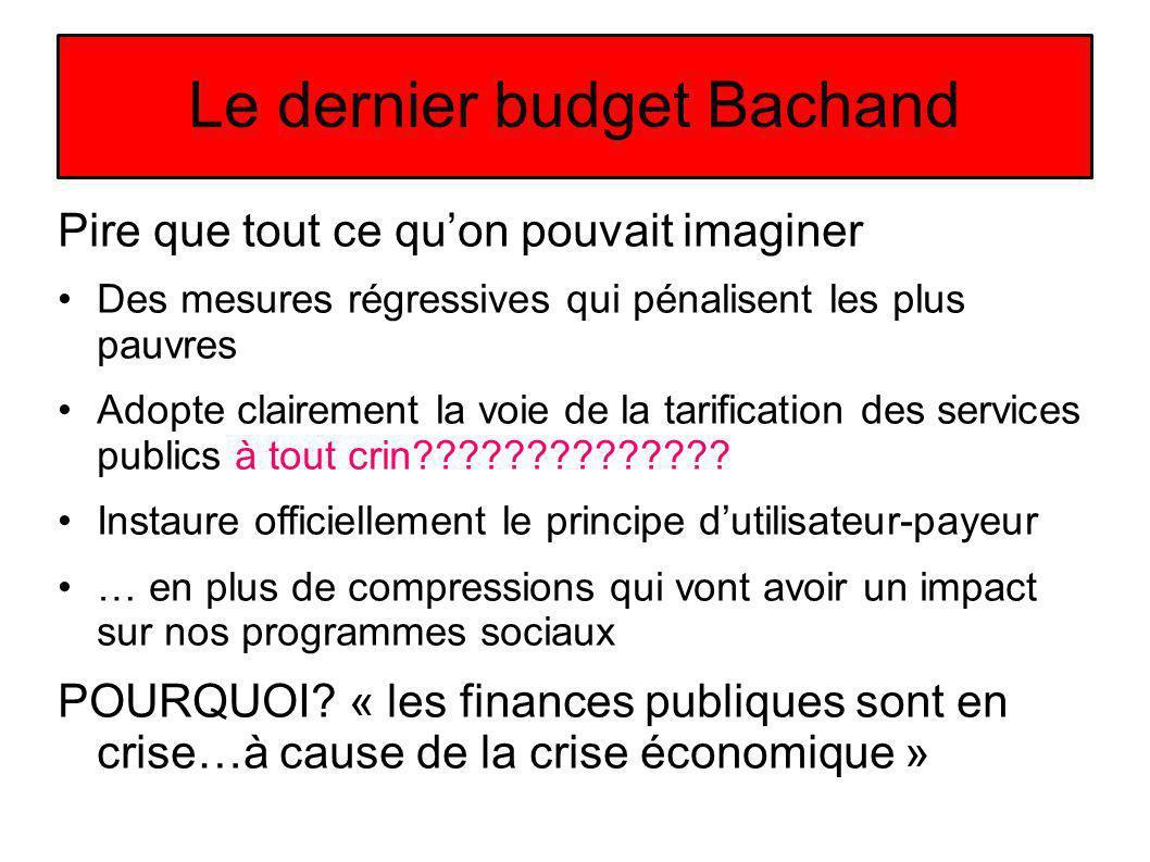 Le dernier budget Bachand Pire que tout ce quon pouvait imaginer Des mesures régressives qui pénalisent les plus pauvres Adopte clairement la voie de la tarification des services publics à tout crin .