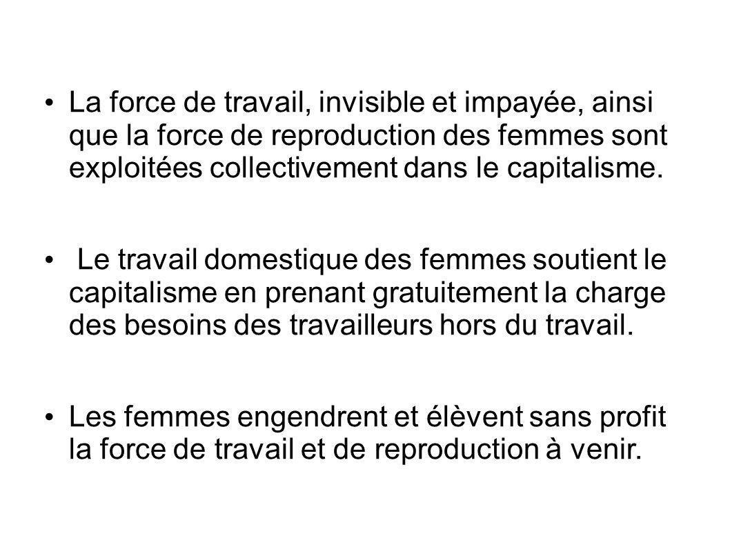 La force de travail, invisible et impayée, ainsi que la force de reproduction des femmes sont exploitées collectivement dans le capitalisme.