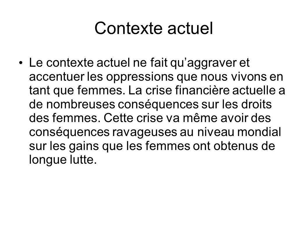 Contexte actuel Le contexte actuel ne fait quaggraver et accentuer les oppressions que nous vivons en tant que femmes.