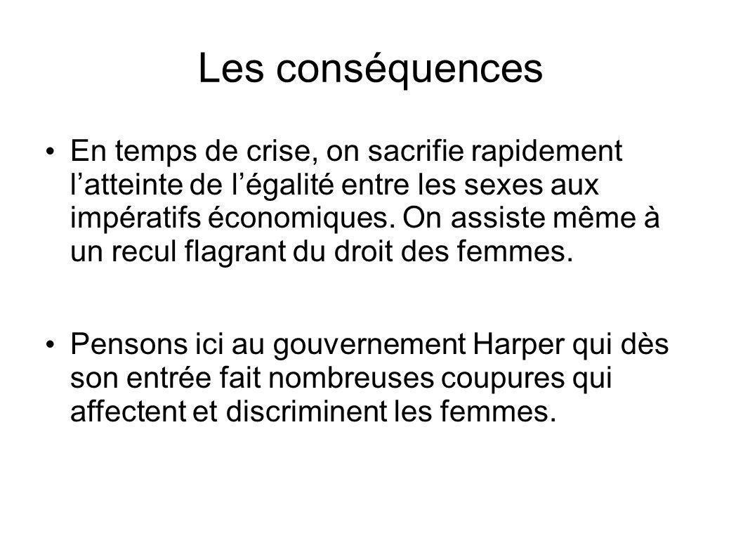 Les conséquences En temps de crise, on sacrifie rapidement latteinte de légalité entre les sexes aux impératifs économiques.