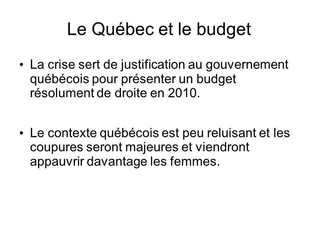Le Québec et le budget La crise sert de justification au gouvernement québécois pour présenter un budget résolument de droite en 2010.