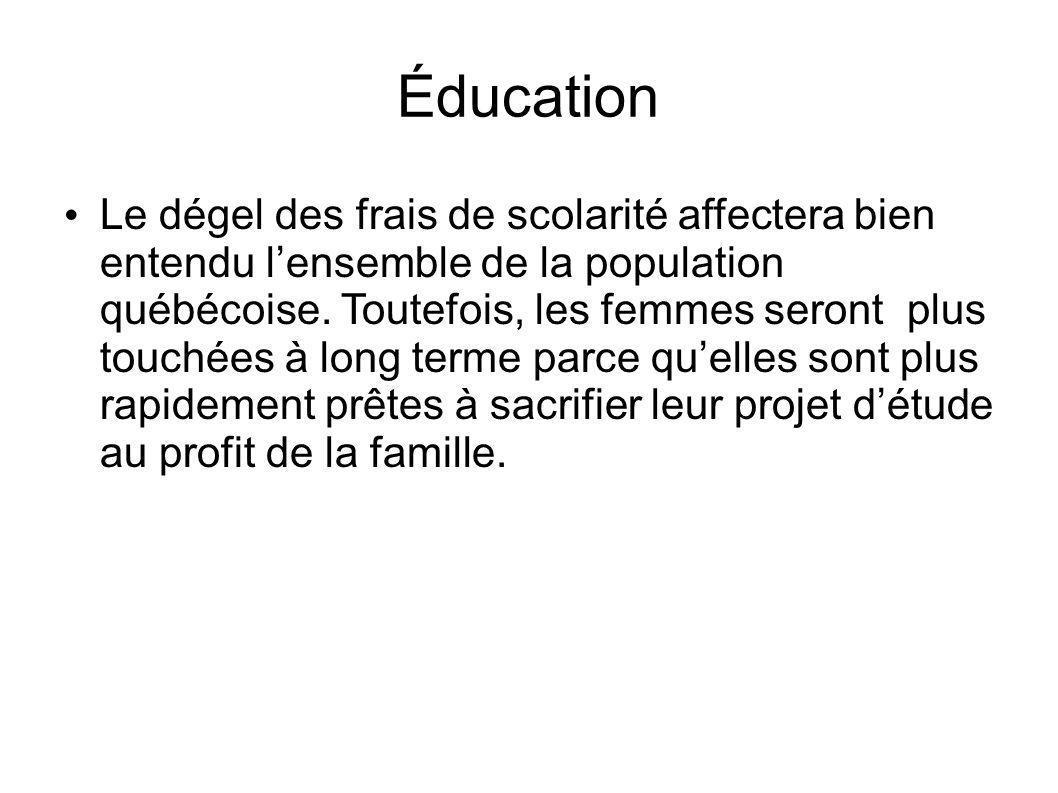 Éducation Le dégel des frais de scolarité affectera bien entendu lensemble de la population québécoise.