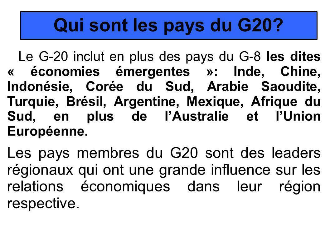 Qui sont les pays du G20.