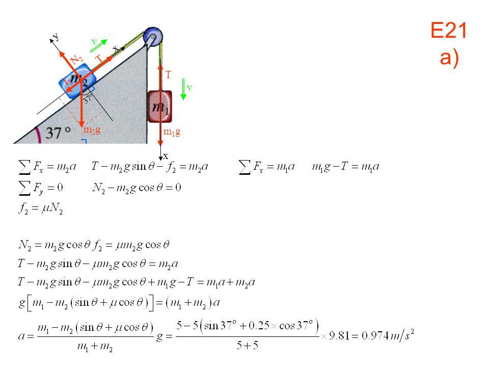 v x m1gm1g x y N2N2 T f2f2 37 o m2gm2g T v E21 a)