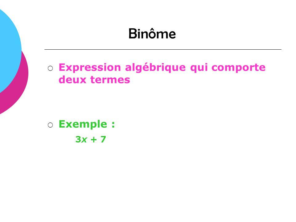 Binôme Expression algébrique qui comporte deux termes Exemple : 3x + 7