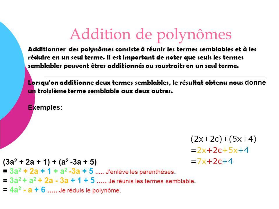 Addition de polynômes (2x+2c)+(5x+4) =2x+2c+5x+4 =7x+2c+4 Additionner des polynômes consiste à réunir les termes semblables et à les réduire en un seu