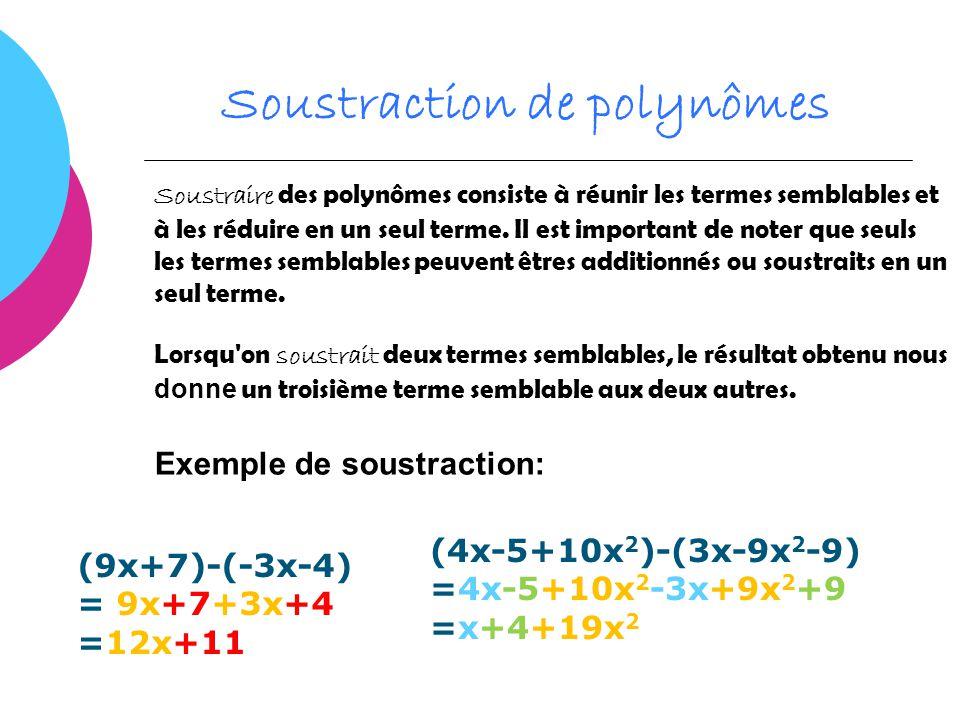 Soustraction de polynômes Soustraire des polynômes consiste à réunir les termes semblables et à les réduire en un seul terme. Il est important de note