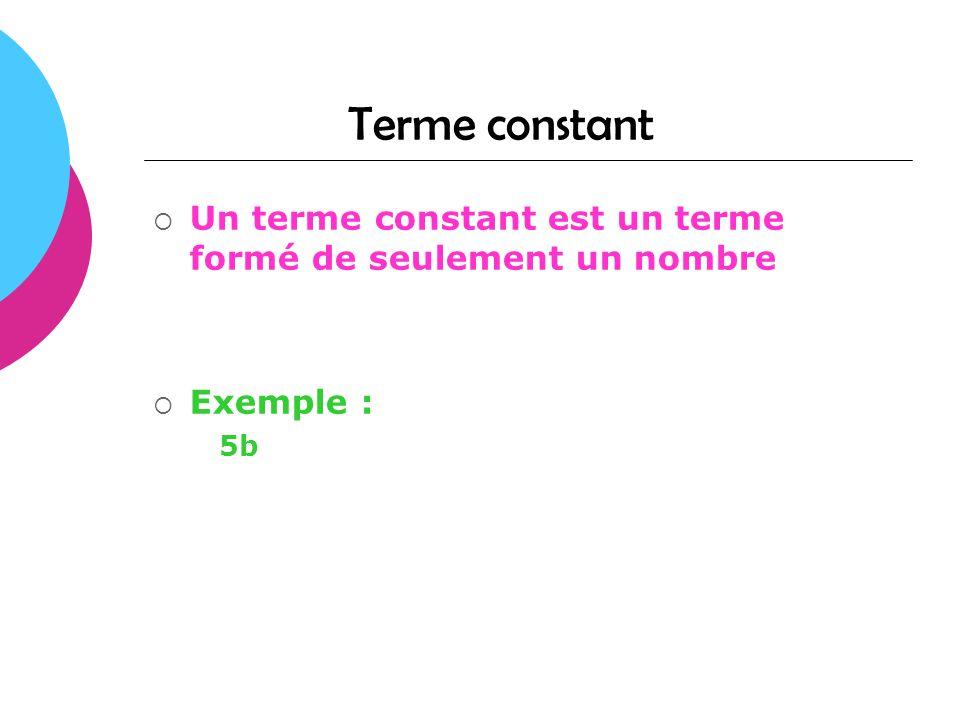 Termes semblables Des termes semblables sont des termes qui ont le même groupe variable Exemple : 3x et x
