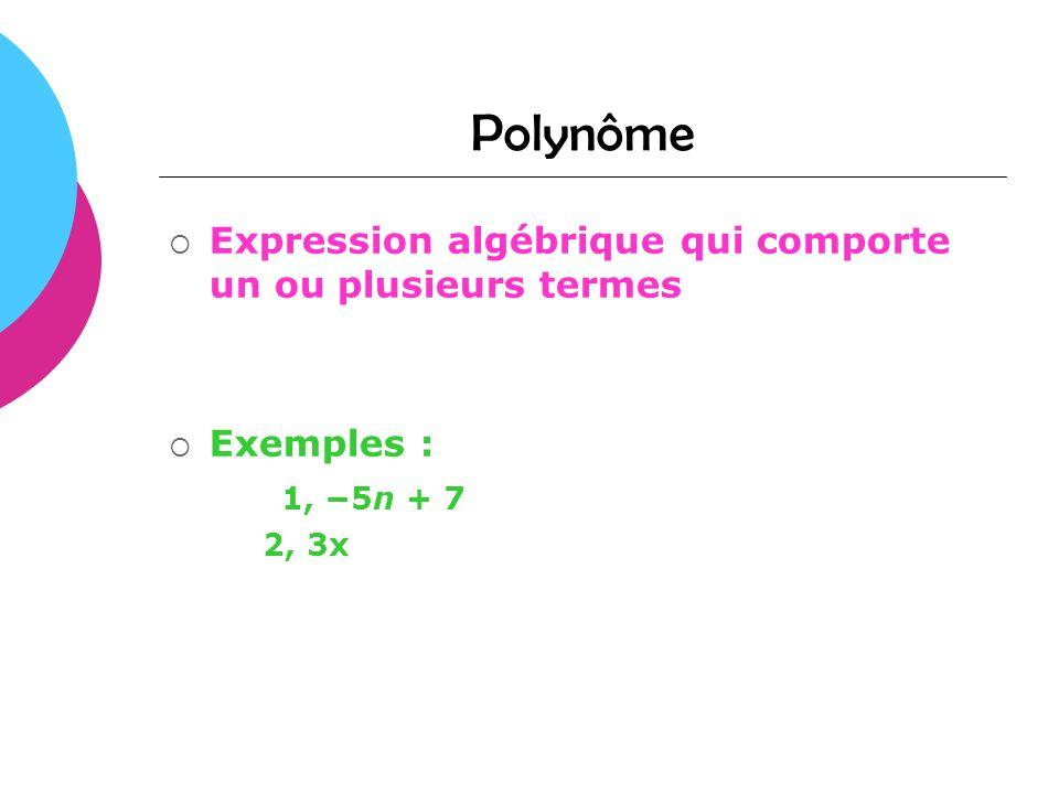 Polynôme Expression algébrique qui comporte un ou plusieurs termes Exemples : 1, 5n + 7 2, 3x