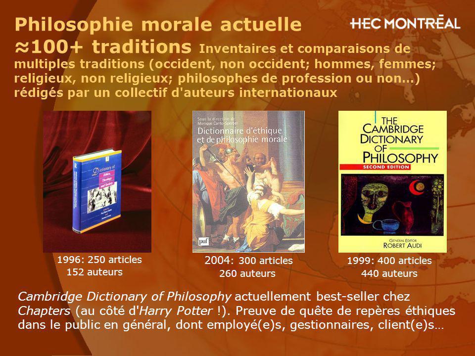 Philosophie morale actuelle 100+ traditions Inventaires et comparaisons de multiples traditions (occident, non occident; hommes, femmes; religieux, no