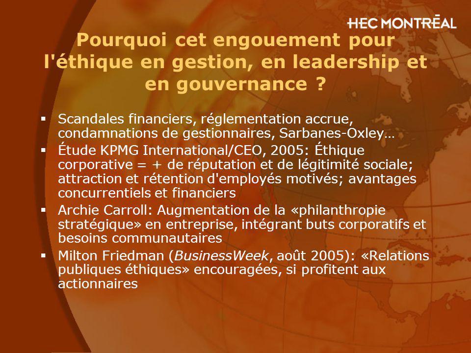 Pourquoi cet engouement pour l'éthique en gestion, en leadership et en gouvernance ? Scandales financiers, réglementation accrue, condamnations de ges