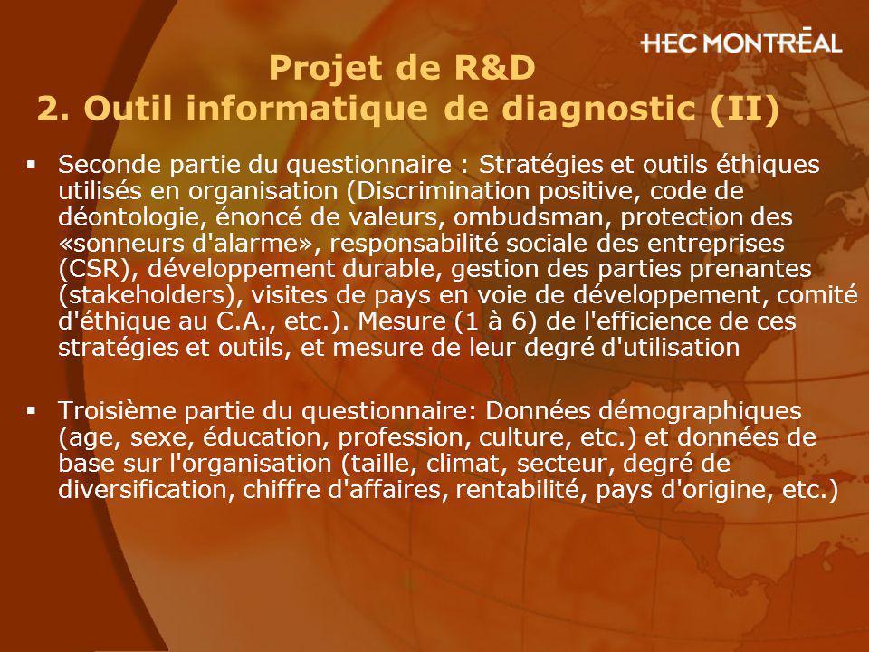 Projet de R&D 2. Outil informatique de diagnostic (II) Seconde partie du questionnaire : Stratégies et outils éthiques utilisés en organisation (Discr
