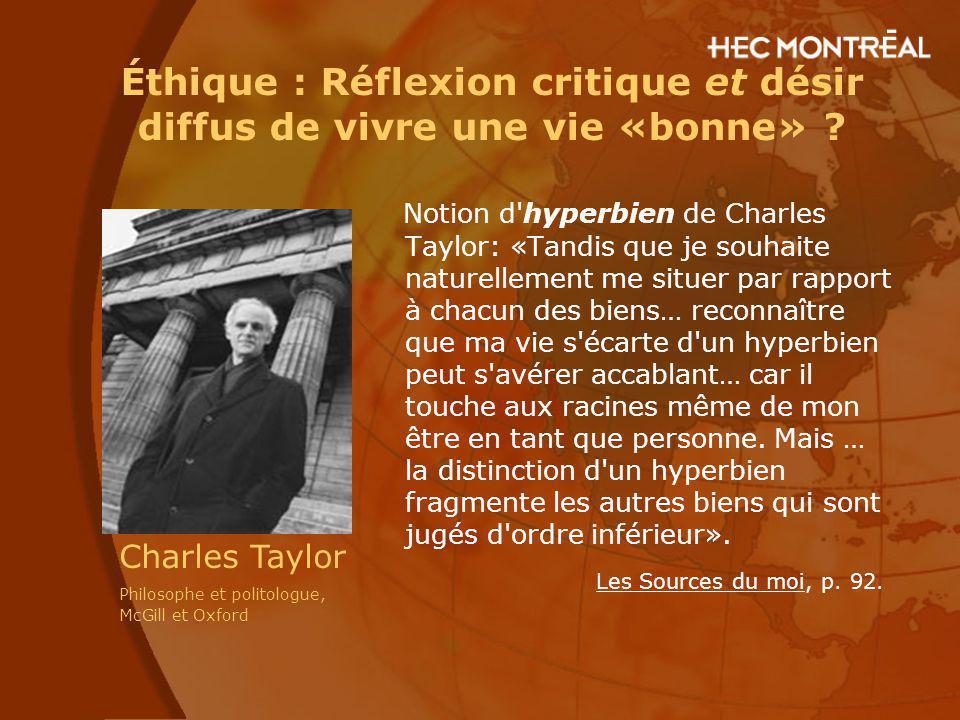 Éthique : Réflexion critique et désir diffus de vivre une vie «bonne» ? Notion d'hyperbien de Charles Taylor: «Tandis que je souhaite naturellement me