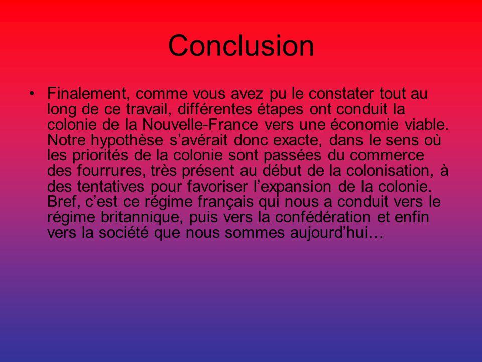 Conclusion Finalement, comme vous avez pu le constater tout au long de ce travail, différentes étapes ont conduit la colonie de la Nouvelle-France ver