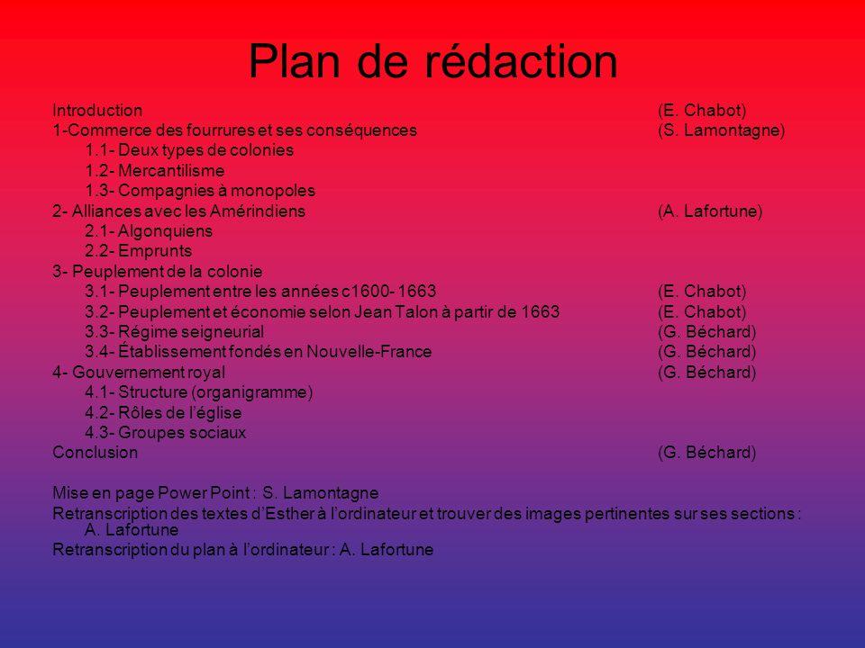Plan de rédaction Introduction(E. Chabot) 1-Commerce des fourrures et ses conséquences (S. Lamontagne) 1.1- Deux types de colonies 1.2- Mercantilisme