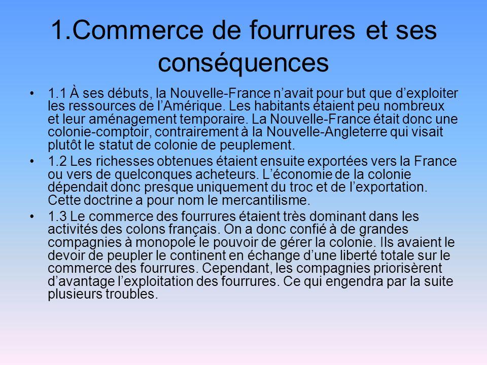1.Commerce de fourrures et ses conséquences 1.1 À ses débuts, la Nouvelle-France navait pour but que dexploiter les ressources de lAmérique. Les habit